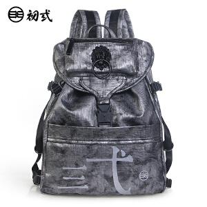 【支持礼品卡支付】初�q中国风潮牌复古男女学生书包pu防水狮子头旅行双肩背包41085