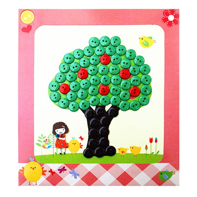 diy纽扣画 儿童手工制作钮扣子幼儿园粘贴画装饰画玩具_苹果树
