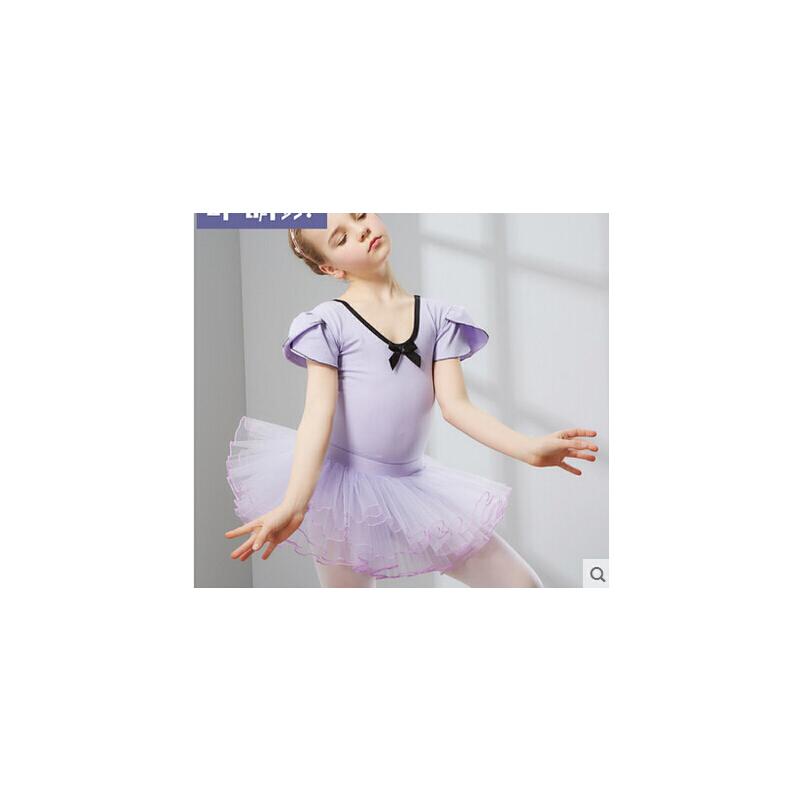 幼儿芭蕾舞考级服连体裙形体 儿童舞蹈服装女童练功服体操服_紫色带a1