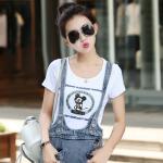 2017夏季新款圆领短袖T恤女韩版百搭卡通印花图案修身上衣17HDYY6564