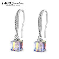 T400耳环女采用施华洛世奇元素水晶韩国气质百搭防过敏S925银耳饰 2923