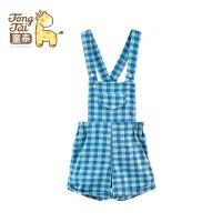童泰 夏季新品 儿童夏装背带裤短裤 英伦风 6-24个月宝宝格子裤子