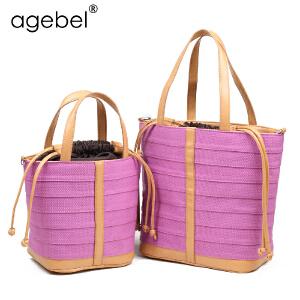 艾吉贝韩版小清新拼接创意帆布包包手袋 香芋紫森女系女包休闲包