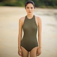 弈姿EZI欧美性感显瘦连体泳衣女 聚拢保守遮肚大码运动游泳衣1569