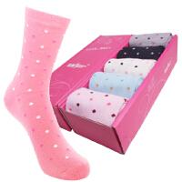 [5双装]内慧 纯棉女士袜子中筒袜吸汗防臭糖果色袜子女礼盒 5016