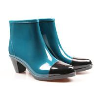 【支持礼品卡支付】女士雨鞋短筒雨靴时尚学生雨靴拉链水鞋套鞋防滑高跟水靴