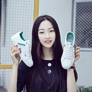 2017夏季新款透气小白鞋厚底系带休闲鞋镂空蕾丝网鞋学生板鞋