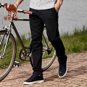 骆驼男装 秋季新款微弹中腰棉质合体直筒纯色长裤日常休闲裤男