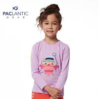 派克兰帝童装 女童卡通印花图案圆领长袖T恤