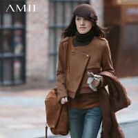 【AMII超级大牌日】[极简主义]2016冬新品羊毛呢子拼接双排扣肩章宽松外套女11470835