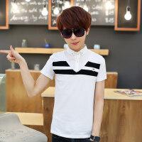 男孩子短袖t恤衫中学生衬衫领假两件套帅气polo衫薄