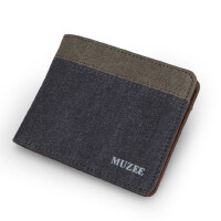 男士钱包 短款帆布钱夹 2折横款票夹 学生零钱包 休闲卡包
