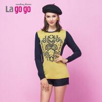 【当当女装盛典 5折价42.5元】Lagogo/拉谷谷复古印象.冬季淑女订珠中长款针织衫DDJ537C922