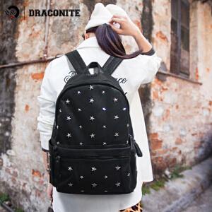 DRACONITE五角星朋克铆钉PU双肩包潮流学生书包电脑旅行背包11109