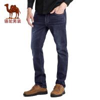 骆驼男装 秋季时尚商务休闲中腰合体直筒牛仔裤男长裤子