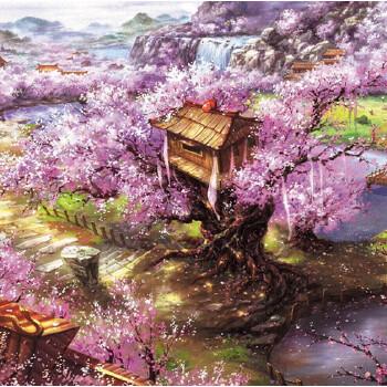 1000片木质拼图500唯美风景卡通智力玩具 樱花山庄