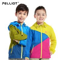 【618返场大促】法国PELLIOT/伯希和 儿童皮肤衣 户外防晒超轻薄儿童拼色皮肤风衣