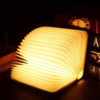 三曼多   情人节礼物 创意翻页实木书本小夜灯 充电 LED折叠书灯台灯 床头装饰灯 年会礼物
