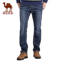 骆驼男装 秋季新款时尚猫须合体直筒中腰拉链牛仔裤长裤子男