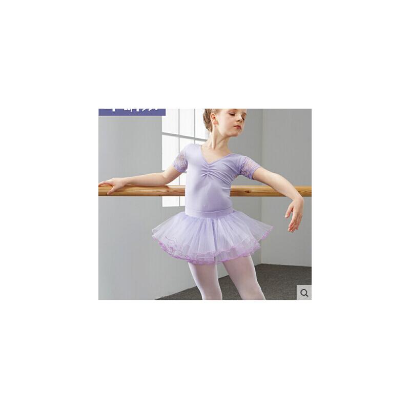 幼儿芭蕾舞考级跳舞服小孩子体操服 儿童舞蹈服装女童练功服_紫带纱