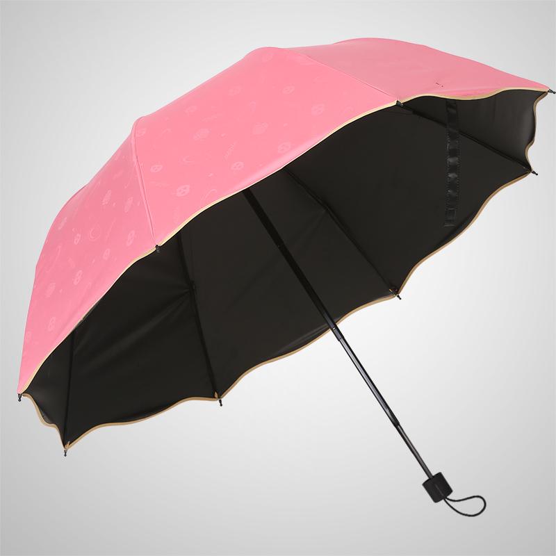 红叶遇光开花黑胶防晒晴雨伞_西瓜红