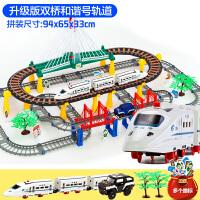 奋铭电动火车轨道车托马斯小火车套装儿童男孩益智玩具汽车和谐号