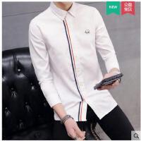新款韩版修身条纹寸衫个性男装衣服港风长袖衬衫男薄款潮