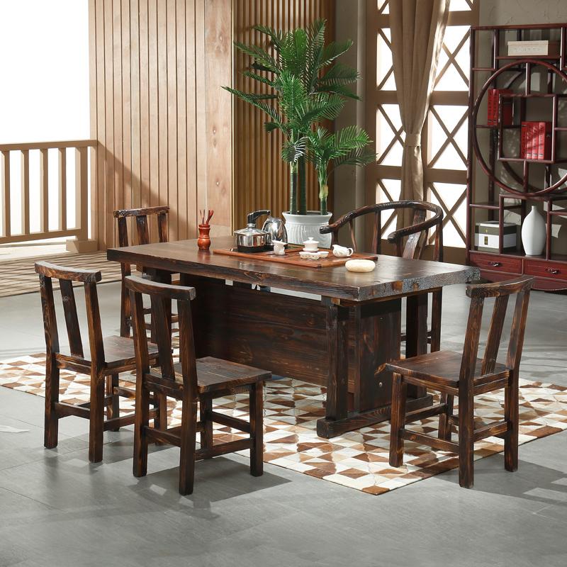 粤顺家具 实木功夫茶几仿古茶桌椅组合大板桌炭烧木