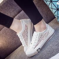 智升2017夏季女时尚潮流韩版透气帆布鞋女学生鞋蕾丝镂空花纹布鞋