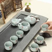 尚帝 汝窑功夫茶具套装 蝉翼开片10头 整套陶瓷茶具套装XM196DYPG1
