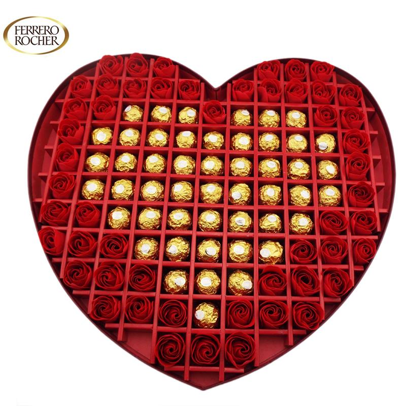 【顺丰包邮】费列罗(ferrero) 99格巧克力心形礼盒(49粒金莎 50朵花)