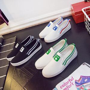 智升2017春季新款小白鞋女平底一脚蹬懒人鞋休闲帆布鞋女板鞋平跟单鞋