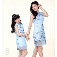 新款亲子装A字裙 女童连衣裙 假两件套儿童裙子立领印花亲子旗袍