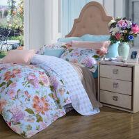 富安娜家纺 四件套纯棉斜纹花卉床品双人被套套件 新品 那些花儿 蓝色 1.8米(6英尺)床