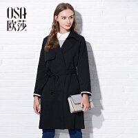 限时抢欧莎秋装新款收腰显瘦 系带中长款黑色风衣女C23108