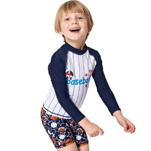 弈姿EZI儿童学生防晒游泳衣男童宝宝分体长袖冲浪服中大童 16076
