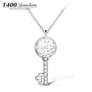 T400s925银项链女款花形镂空钥匙吊坠锁骨链简约配饰品心动之匙  12112