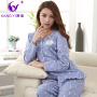 香港康谊春季纯棉女士睡衣舒适女人长袖家居服开衫可外穿全棉套装