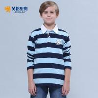 2017春装新款男童长袖纯棉T恤中大童儿童体恤条纹翻领POLO打底衫
