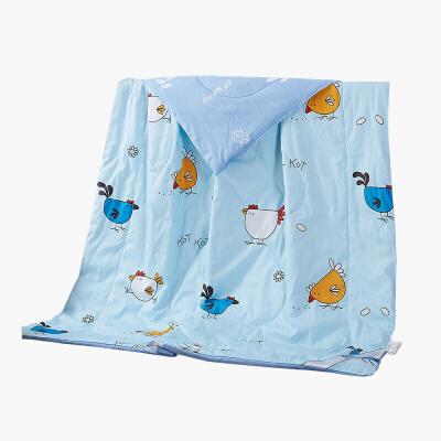 当当优品 全棉印花水洗夏凉被 空调被 午睡被 快乐家族(蓝)150*200cm当当自营 纯棉面料 环保印染0刺激 可水洗不变形