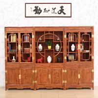 包邮简迪红木家具仿古博古架实木中式隔断书柜组合花梨木仿古多宝阁置物架