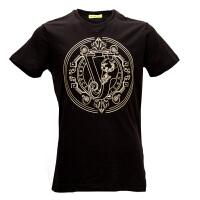 VERSACE JEANS黑色纯棉金色logo徽章图案男士短袖T恤