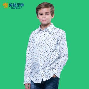 2017男童长袖衬衫春装新款男孩休闲衬衣中大童纯棉童装儿童上衣