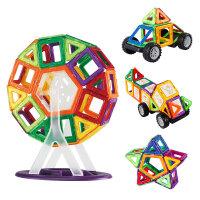 阿李罗火火兔百变提拉磁力片积木 益智儿童玩具建构片76片装 环保材质 百变拼搭