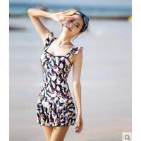 户外韩版泳衣 女士连体裙式钢托大胸小胸聚拢遮肚显瘦 泡温泉性感泳装