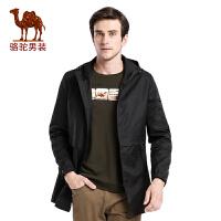 骆驼男装 秋冬季时尚都市青年修身中长款纯色风衣外套 男