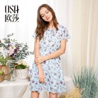 欧莎夏装女2017夏装新款女装 时尚印花百搭收腰短袖连衣裙