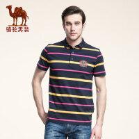 骆驼男装 夏装polo风格男士短袖T恤 衬衫领商务休闲条纹短体恤 男