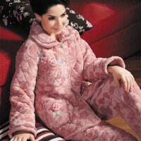 休闲睡衣女款加厚法兰绒夹棉家居服套装 珊瑚绒夹棉睡衣女士