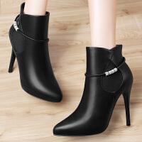 古奇天伦细跟短靴2016秋冬季新款高跟马丁靴时尚英伦加绒尖头女靴 8516